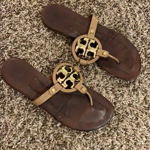 Woman's TORY BURCH Miller Sandals beige gold 9.5